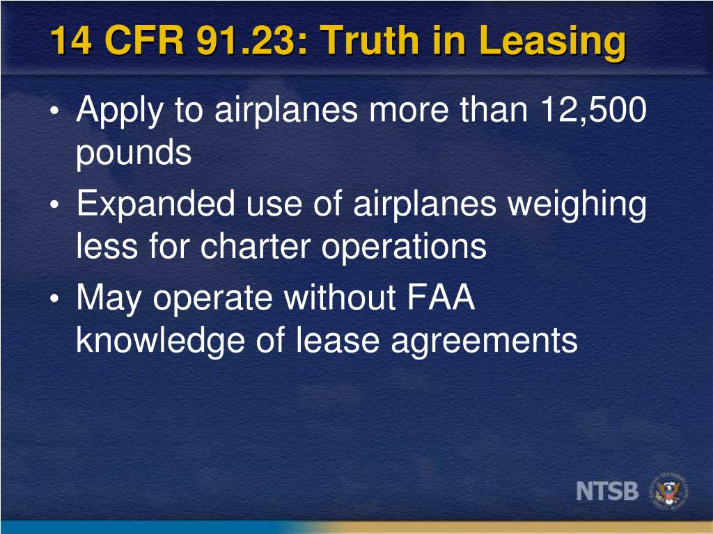 14 CFR 91.23: Truth in Leasing