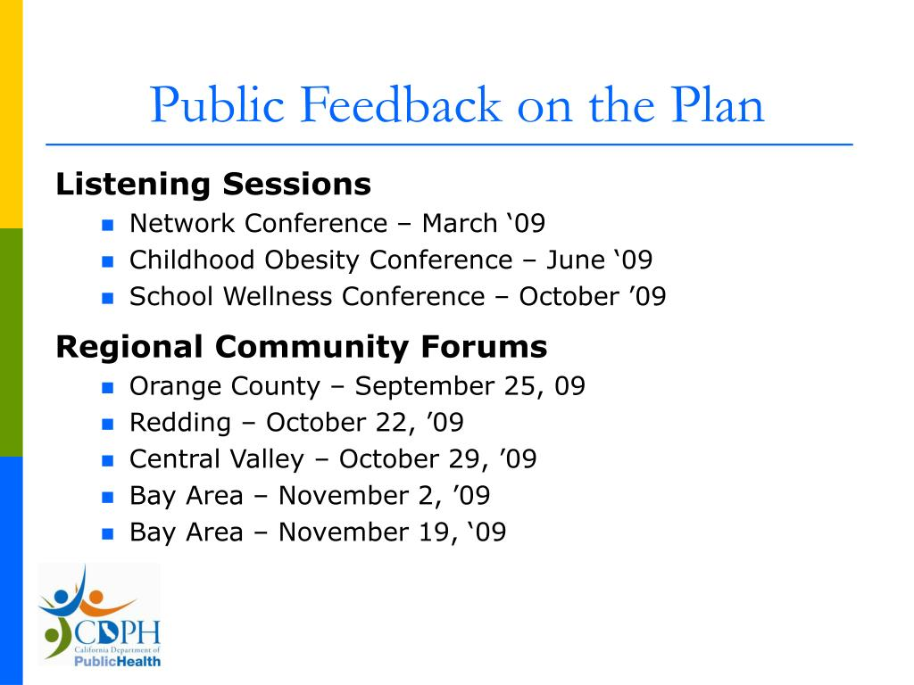 Public Feedback on the Plan