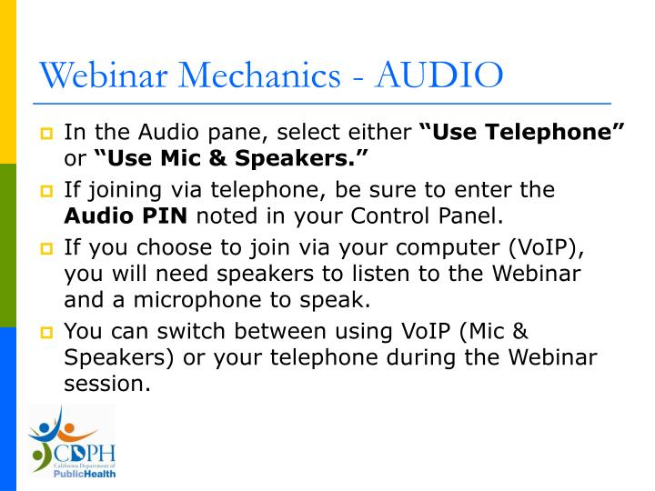 Webinar mechanics audio