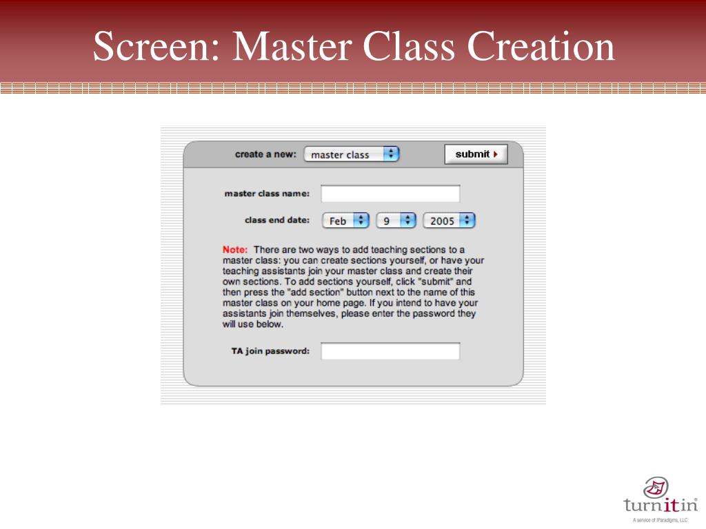 how to create a class for turnitin
