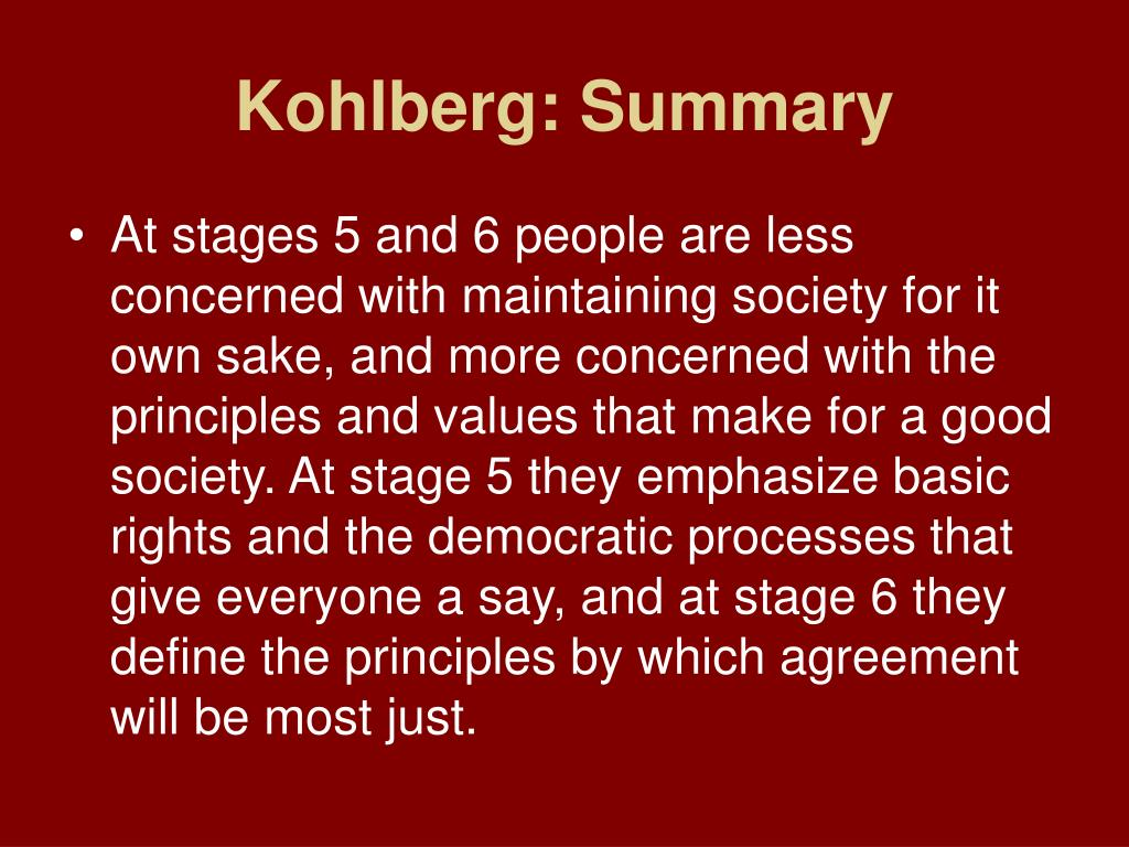 kohlbergs theory of moral reasoning essay Free essay: kohlberg's theory of moral development consists of six stages within three levels known as preconventional morality, conventional morality and.