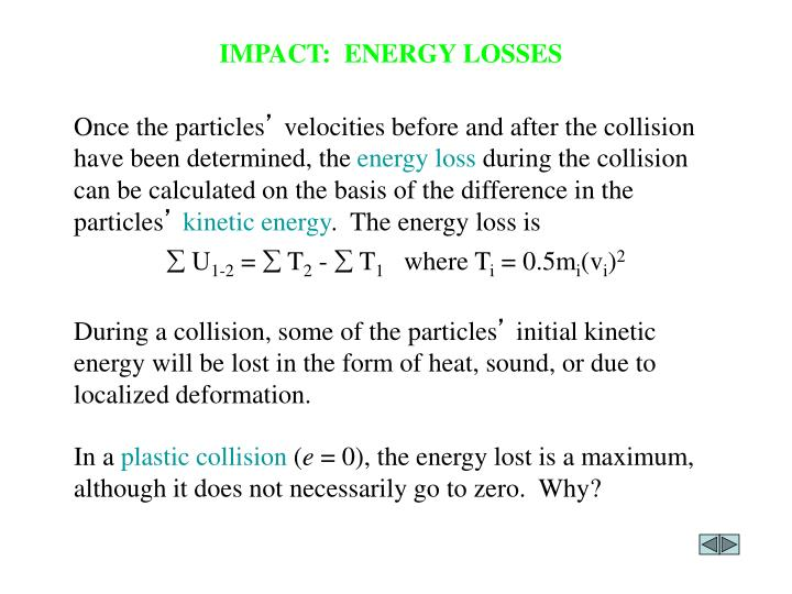 IMPACT:  ENERGY LOSSES