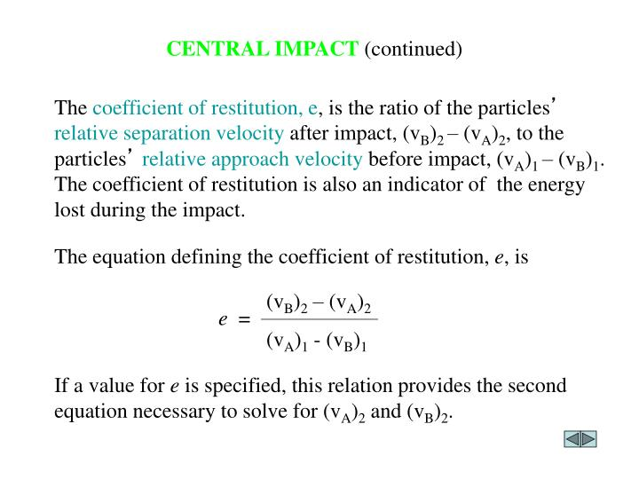 The equation defining the coefficient of restitution,