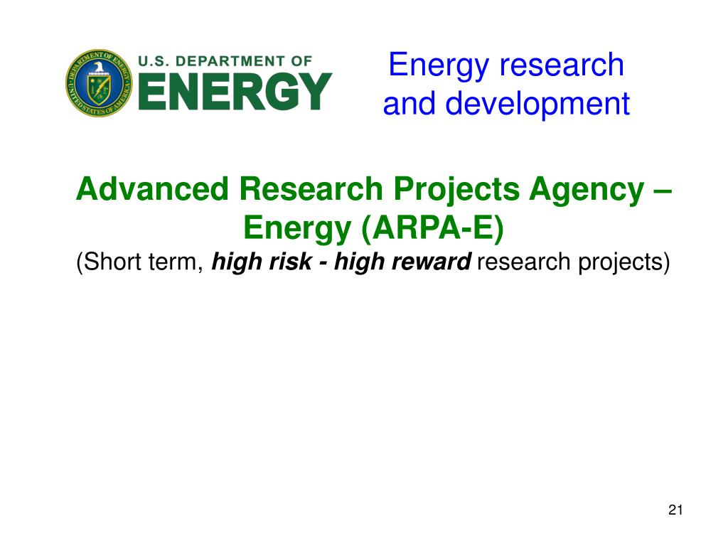 Energy research and development