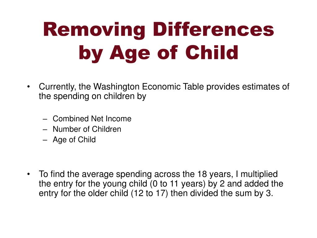 Removing Differences by Age of Child