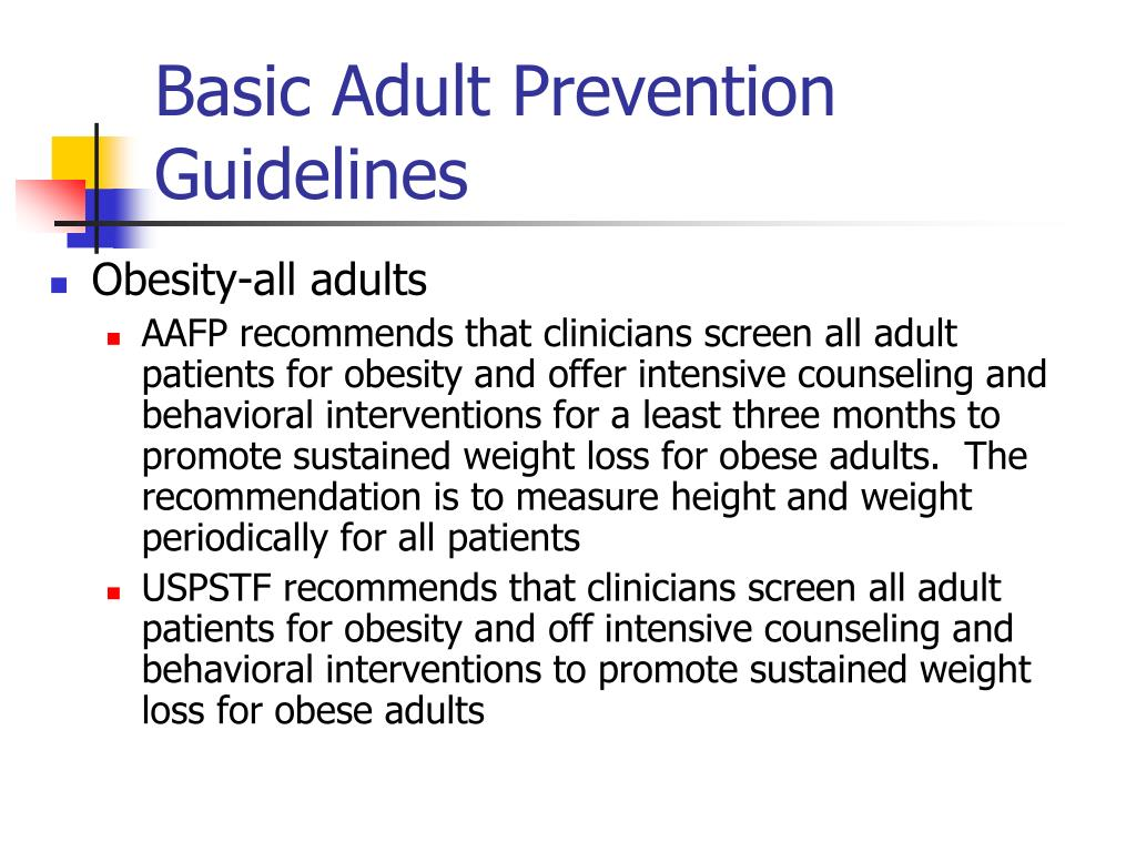 Basic Adult Prevention Guidelines