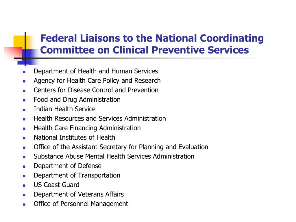 Federal Liaisons to the National Coordinating Committee on Clinical Preventive Services