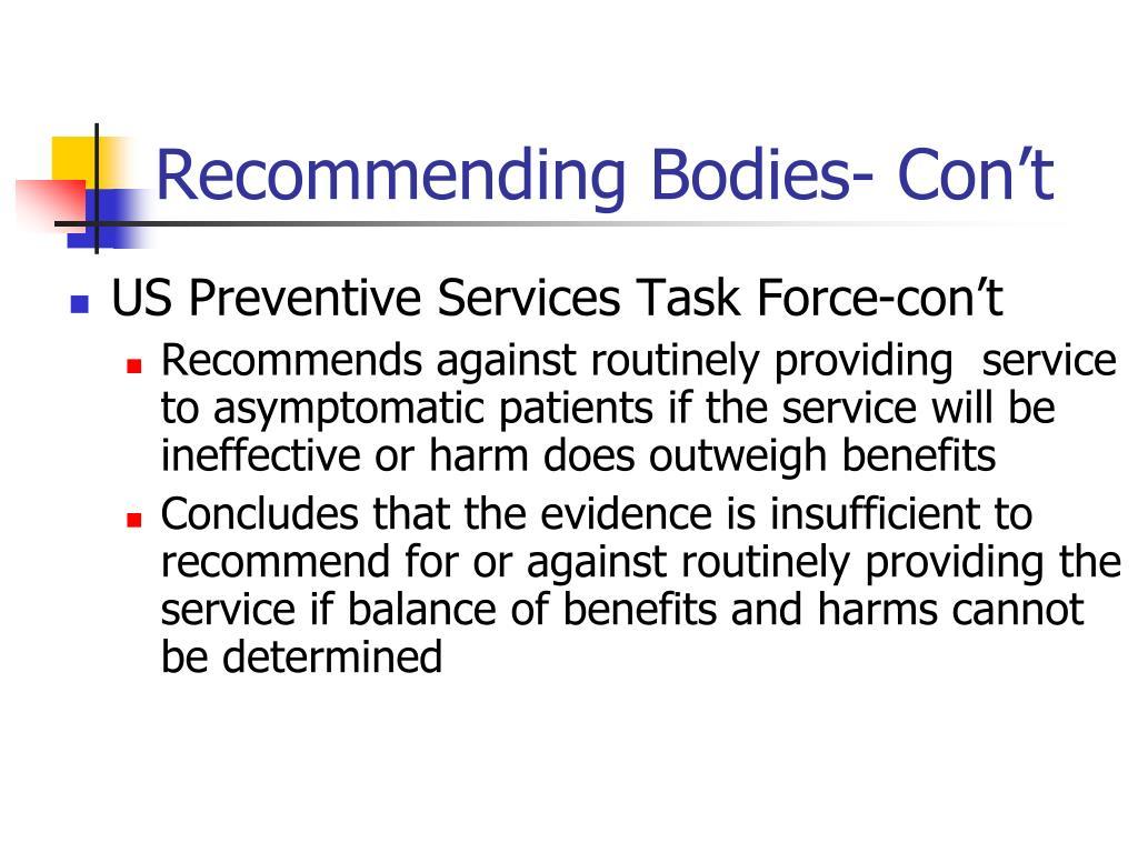 Recommending Bodies- Con't
