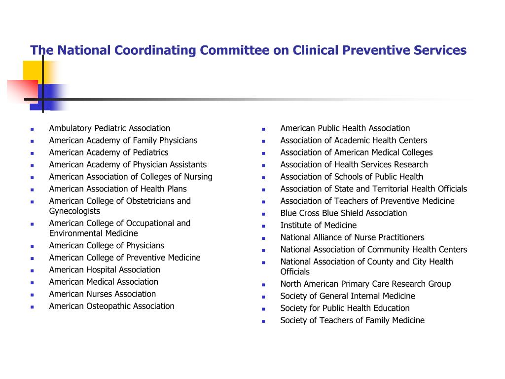 The National Coordinating Committee on Clinical Preventive Services