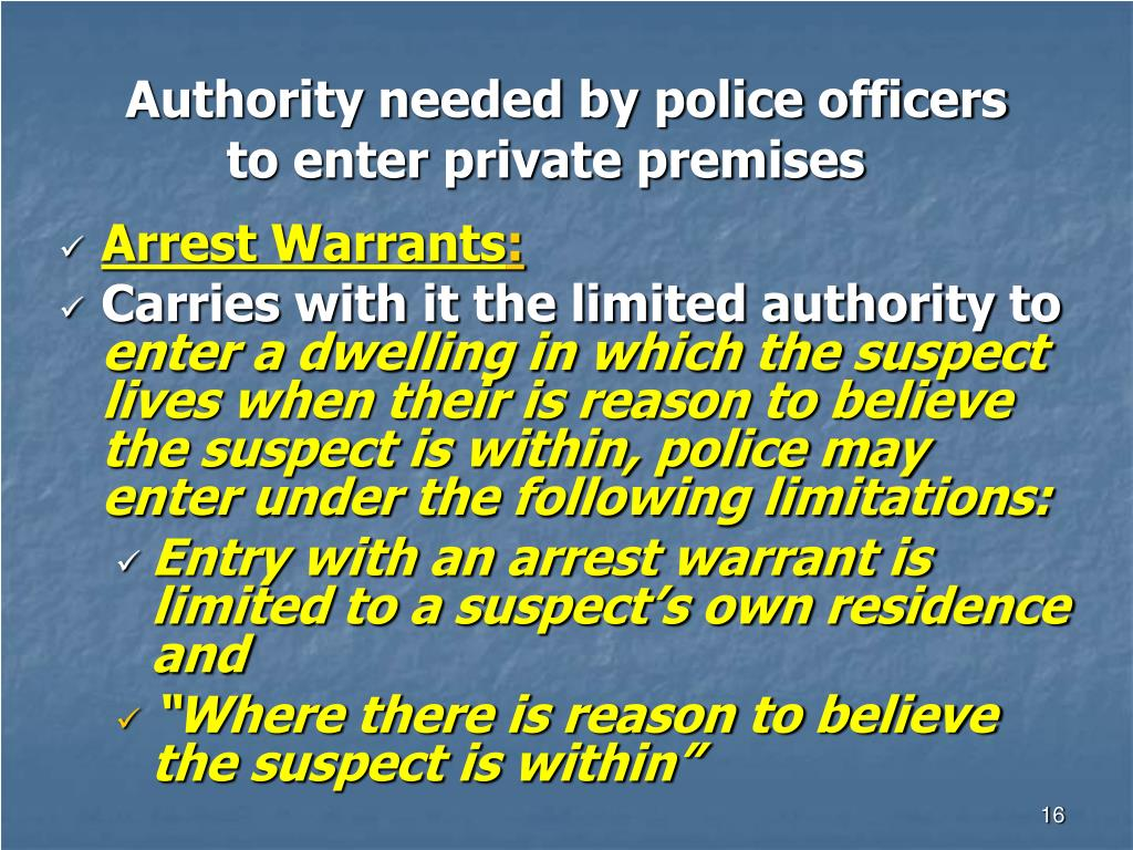 Authority needed by police officers to enter private premises