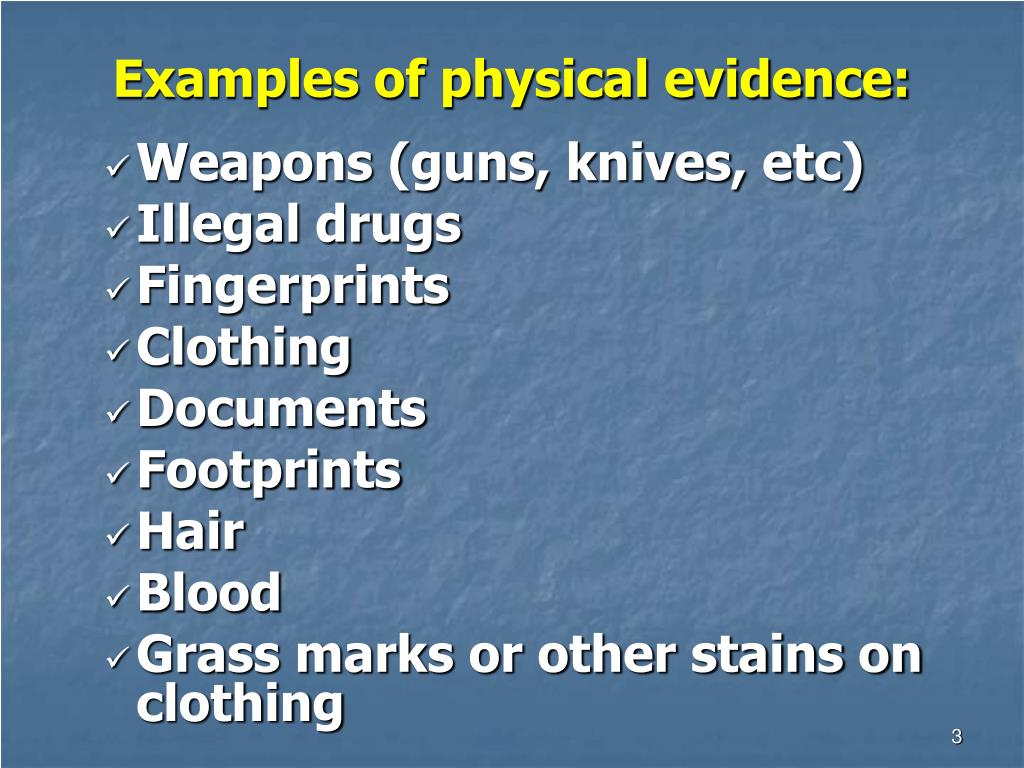 Examples of physical evidence: