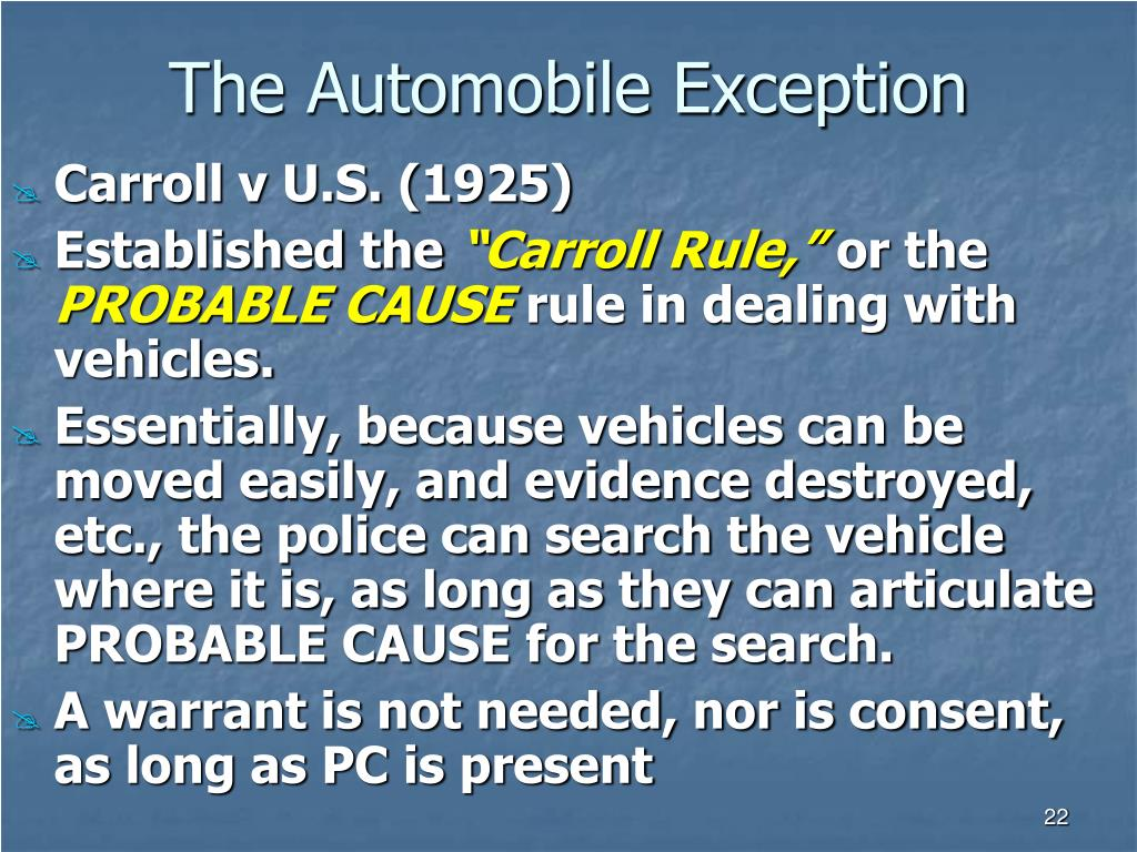The Automobile Exception