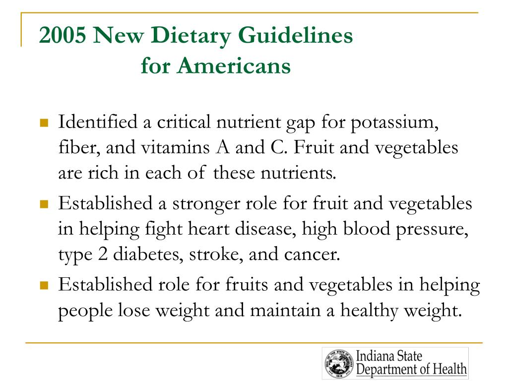 2005 New Dietary Guidelines