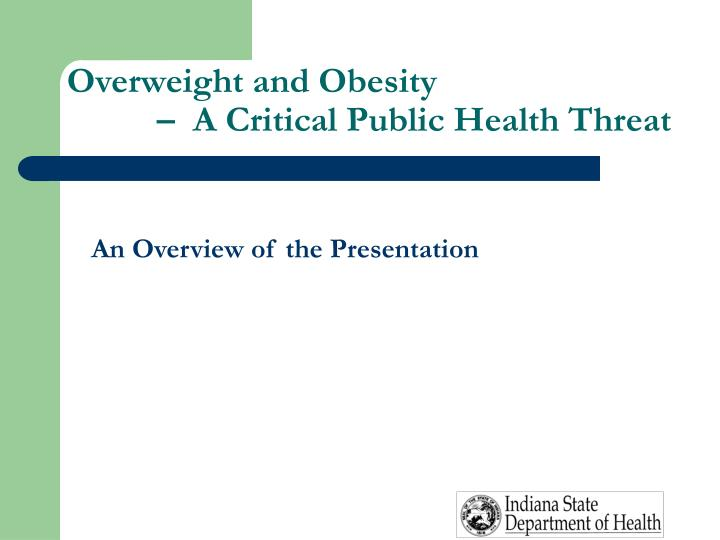 Overweight and obesity a critical public health threat3