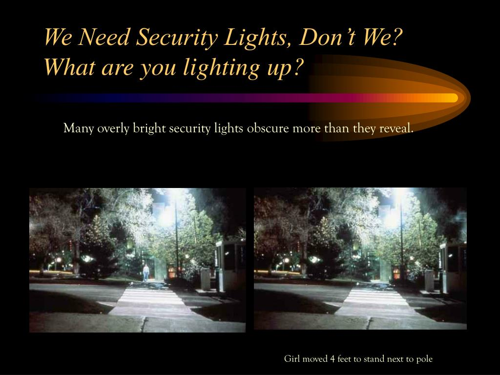 We Need Security Lights, Don't We? What are you lighting up?