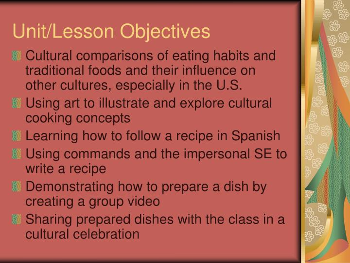 Unit lesson objectives