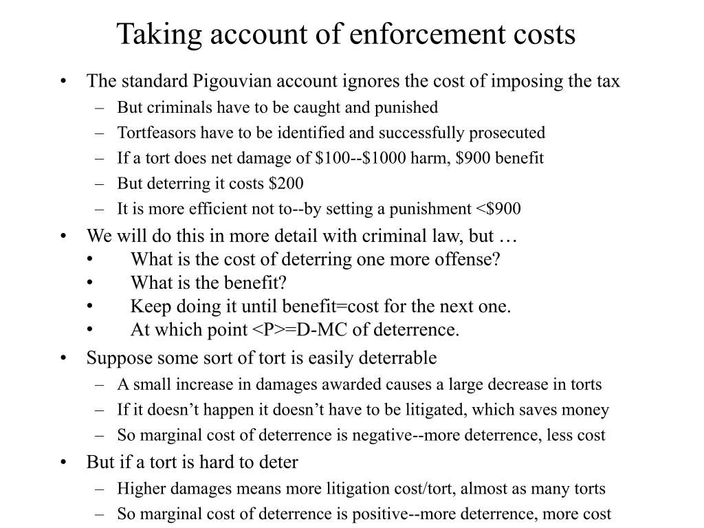 Taking account of enforcement costs