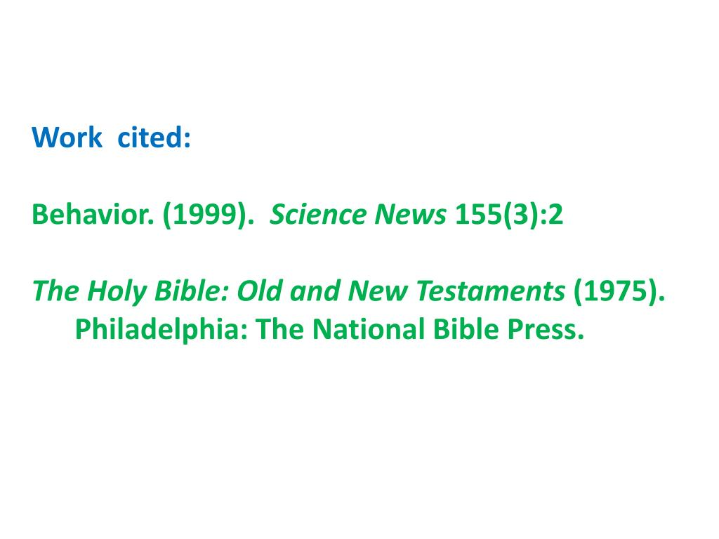 How to cite the holy bible apa