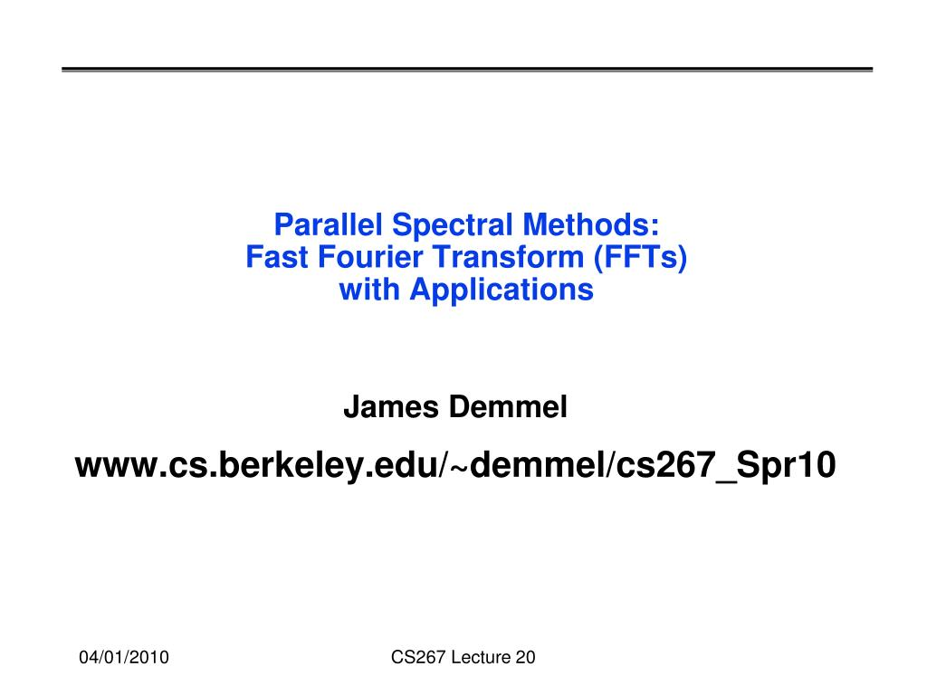 Parallel Spectral Methods: