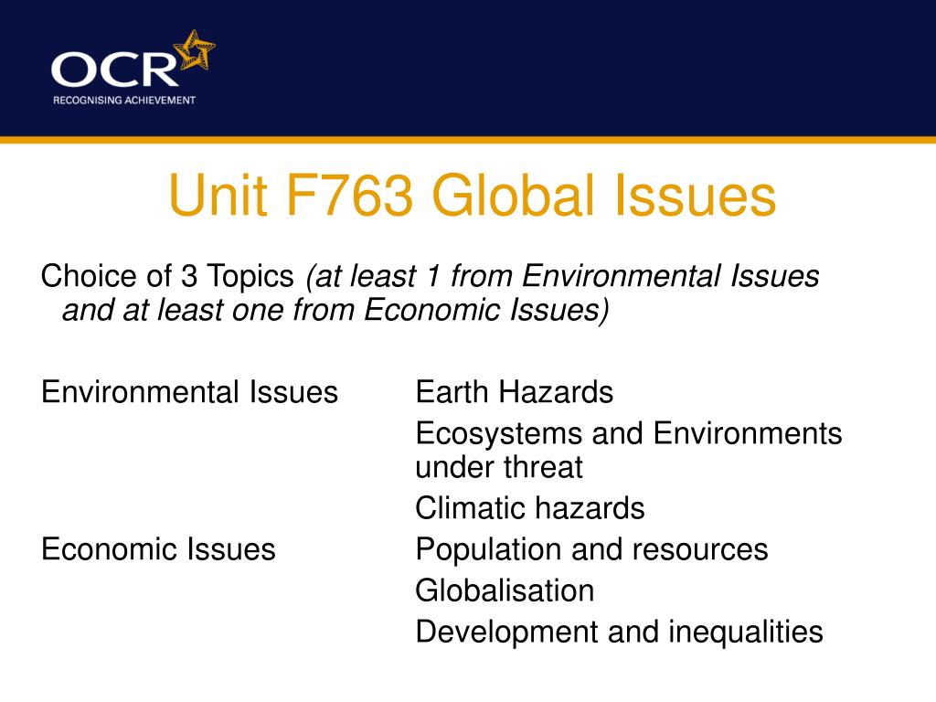 Unit F763 Global Issues