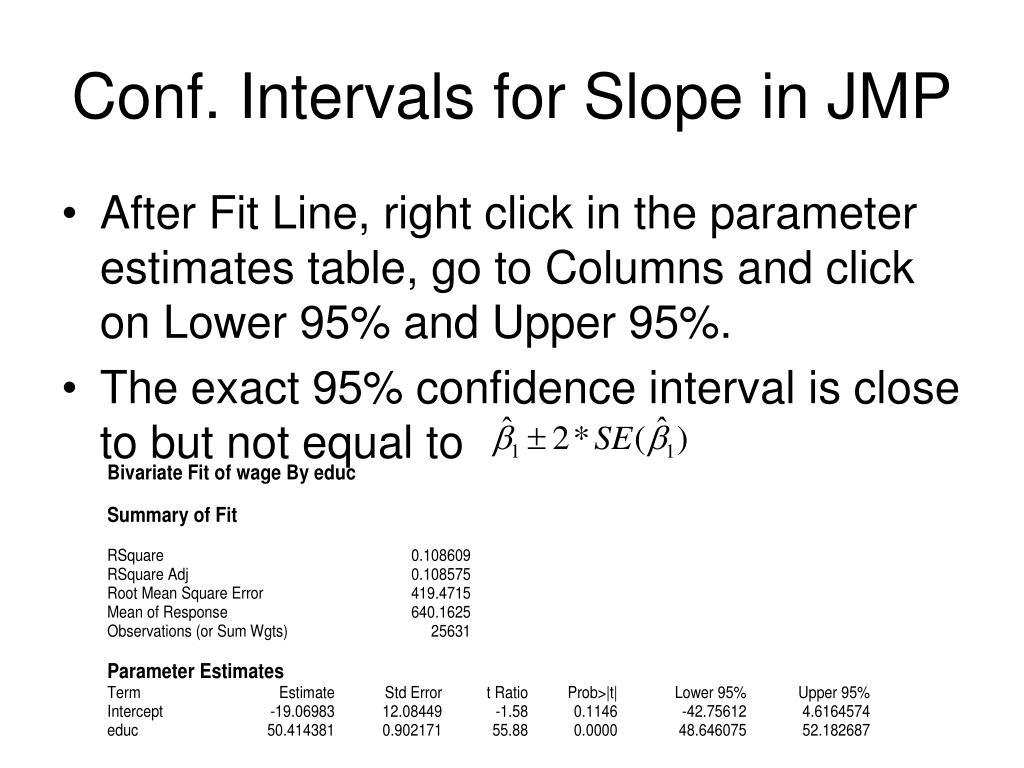 Conf. Intervals for Slope in JMP