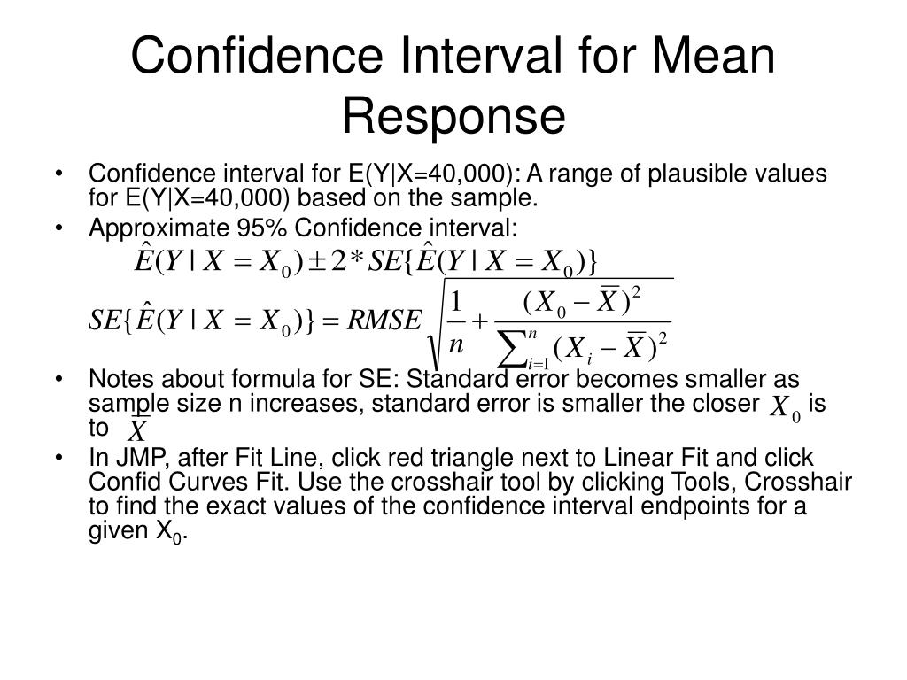 Confidence Interval for Mean Response