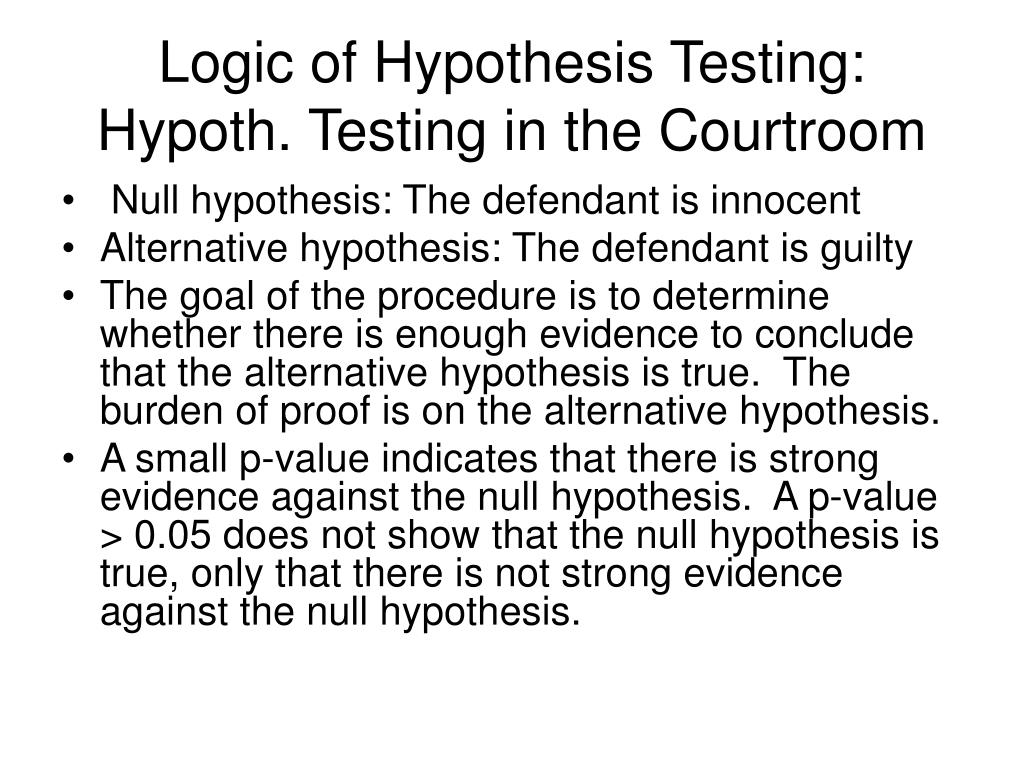 Logic of Hypothesis Testing: Hypoth. Testing in the Courtroom