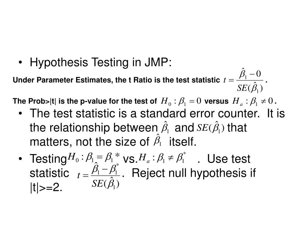 Hypothesis Testing in JMP: