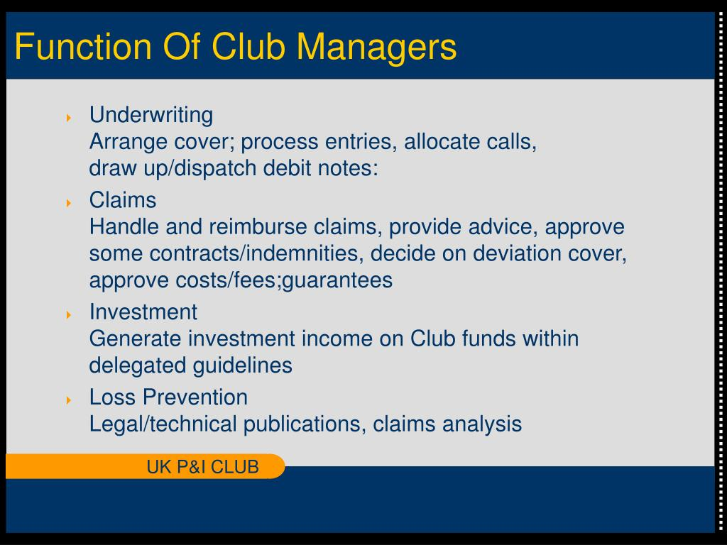 Function Of Club Managers