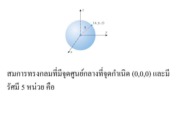 สมการทรงกลมที่มีจุดศูนย์กลางที่จุดกำเนิด