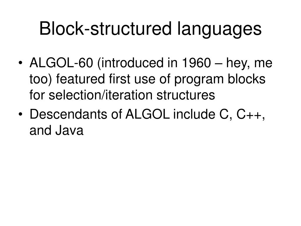 Block-structured languages