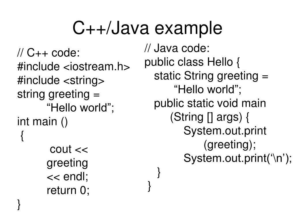 C++/Java example