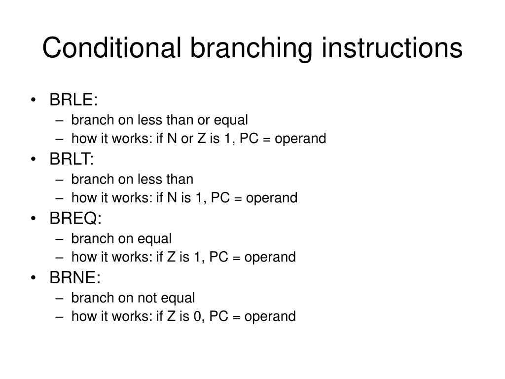 Conditional branching instructions