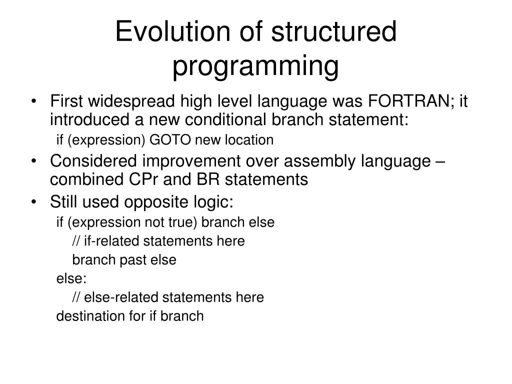 Evolution of structured programming