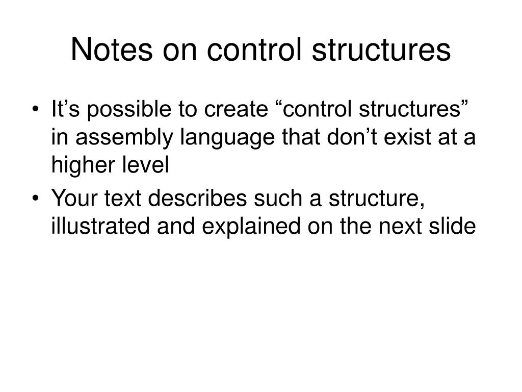 Notes on control structures