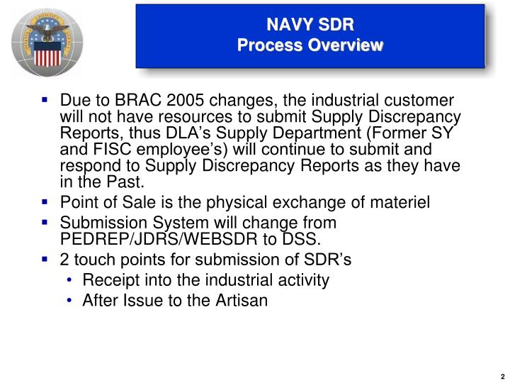 Navy sdr process overview