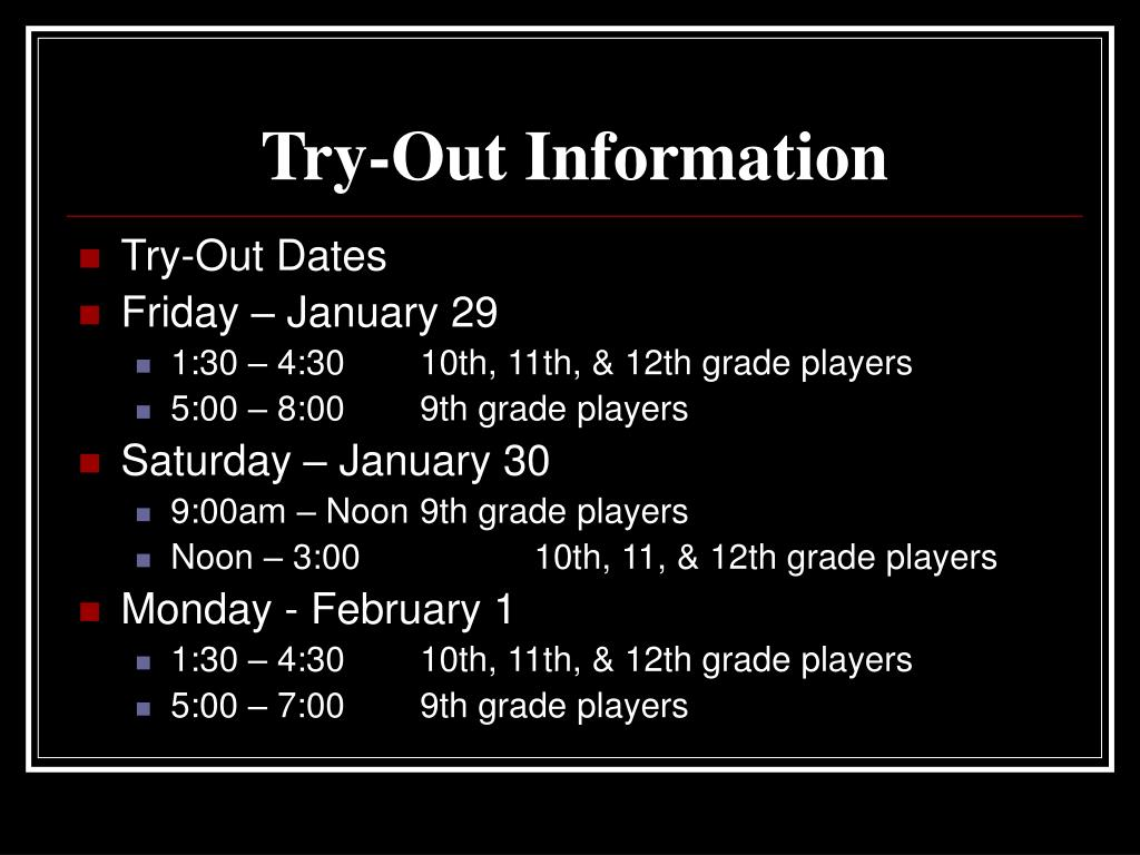 Try-Out Information