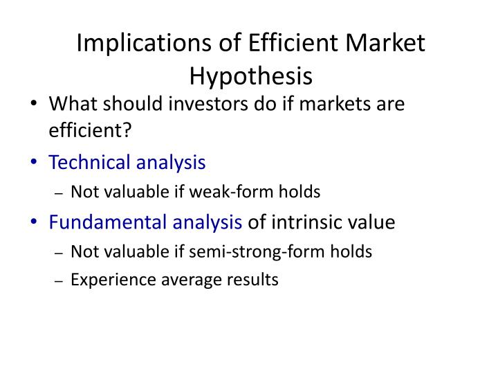 Implications of Efficient Market Hypothesis
