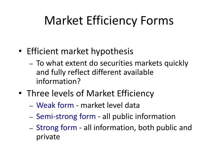 Market Efficiency Forms