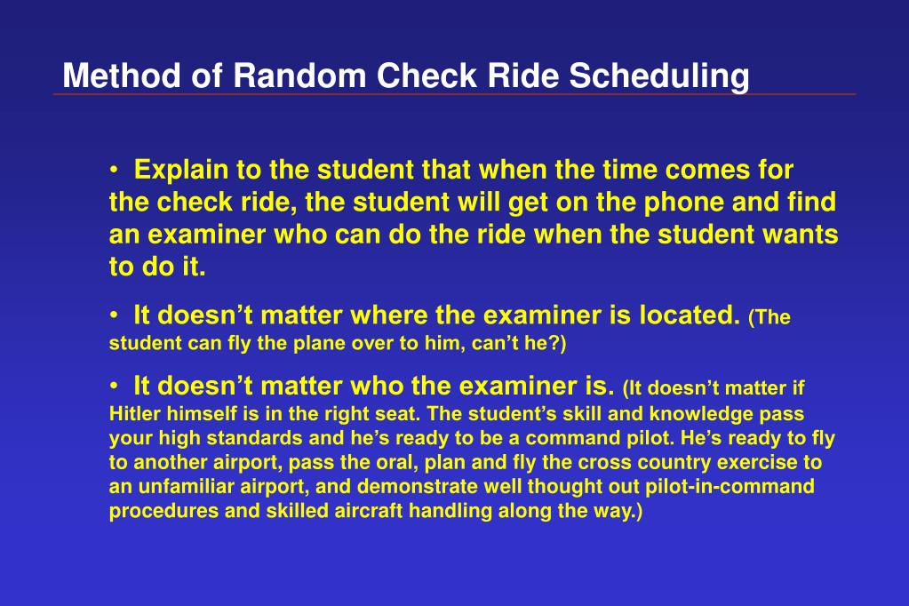 Method of Random Check Ride Scheduling