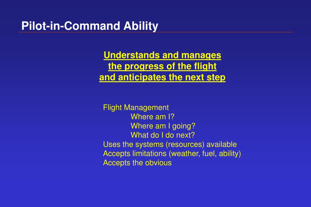 Pilot-in-Command Ability