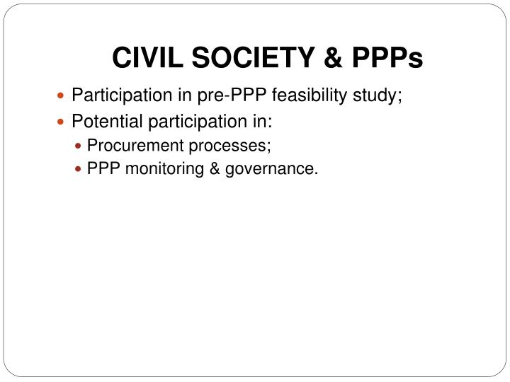 CIVIL SOCIETY & PPPs