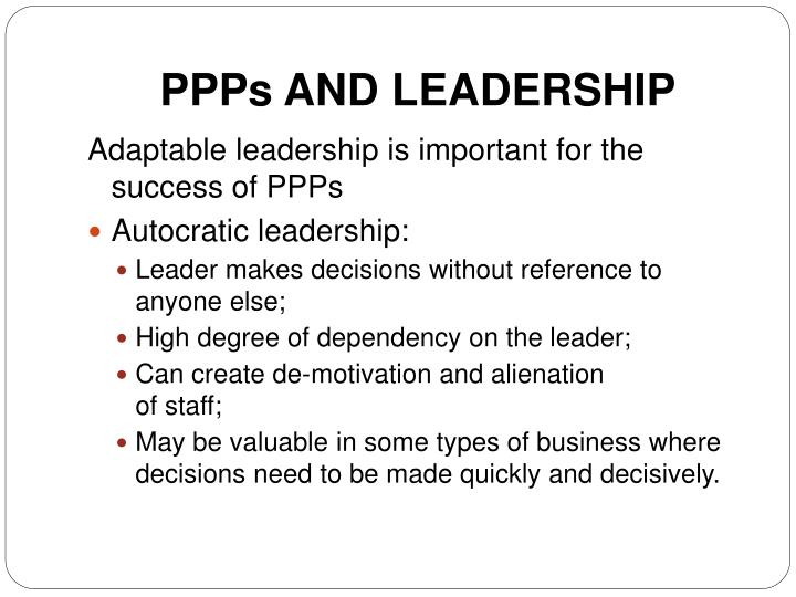 PPPs AND LEADERSHIP