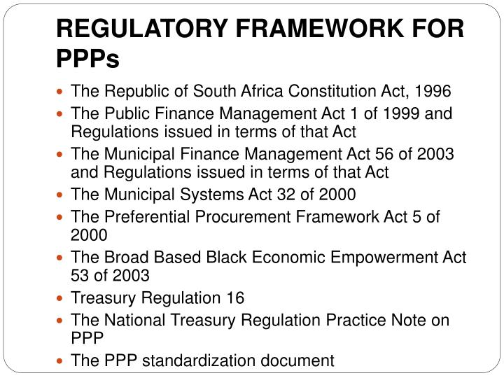 REGULATORY FRAMEWORK FOR PPPs