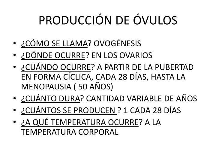 PRODUCCIÓN DE ÓVULOS