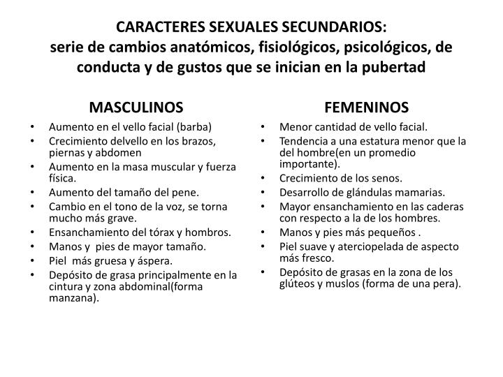 CARACTERES SEXUALES SECUNDARIOS