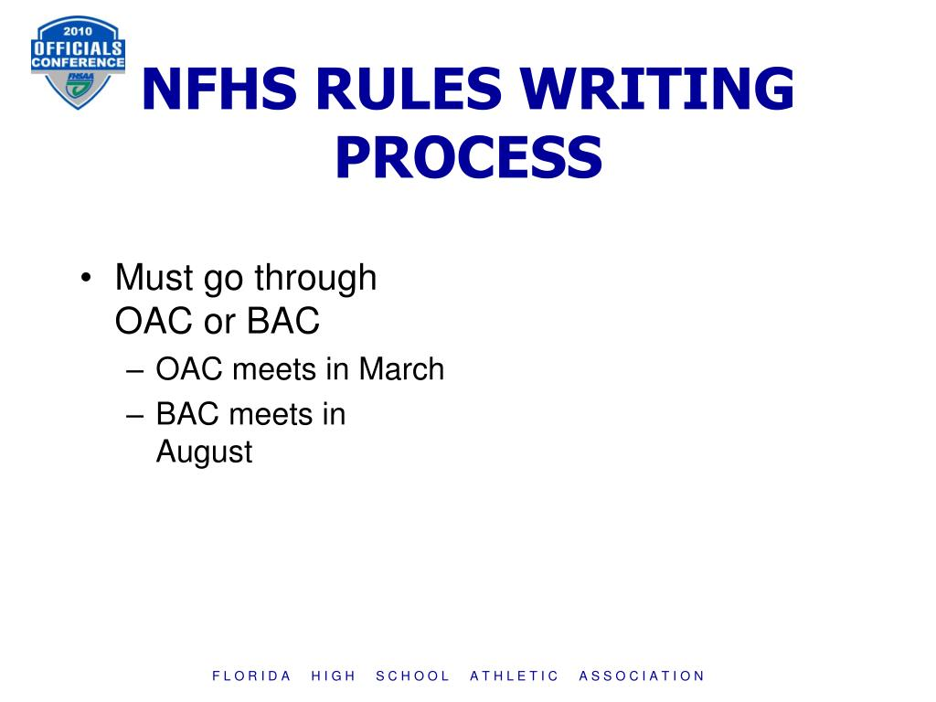 NFHS RULES WRITING PROCESS