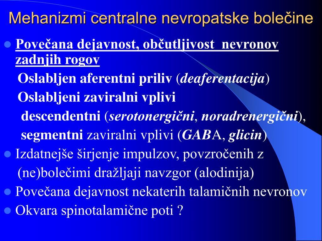 Mehanizmi centralne nevropatske bolečine