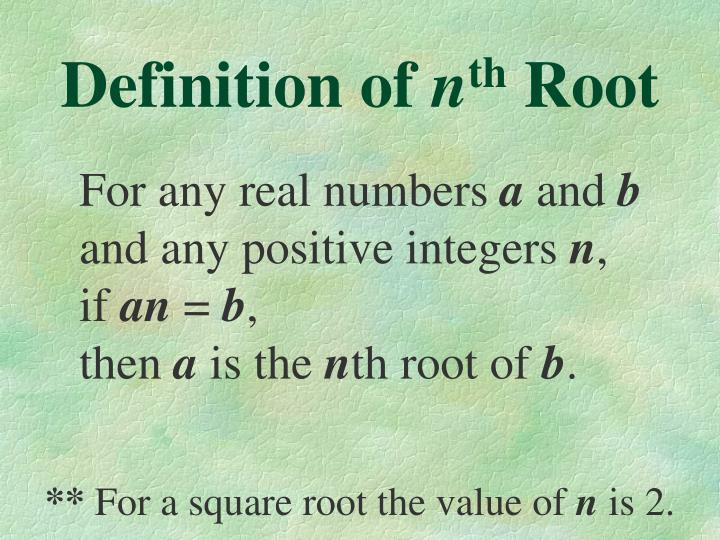 Definition of n th root