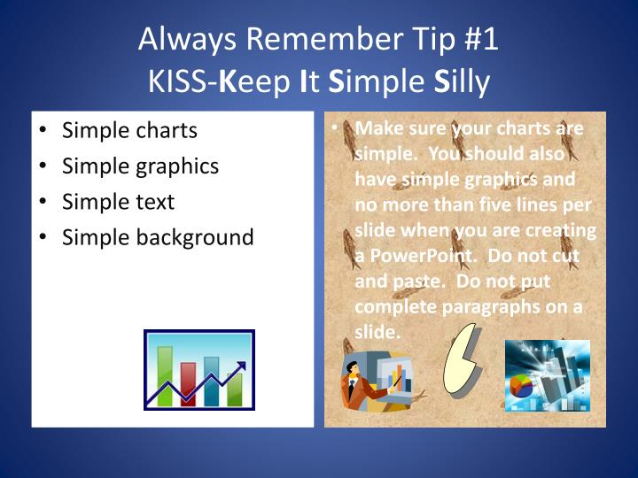 Always remember tip 1 kiss k eep i t s imple s illy